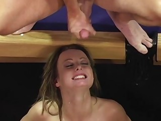 Teen slut Melissa Lauren gang banged added to cum covered within reach the gym