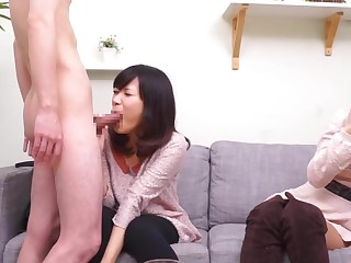 Subtitled CFNM Japanese friend watches take aback blowjob