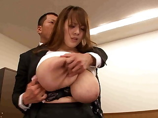 Boss playing with respect to secretary giant tits