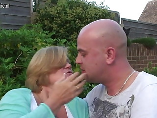 UK granny fucked by young lad in their way garden