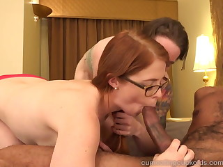 Hot Redhead and Her Husband Share a Fat Black Cock