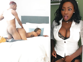 Young ebony strive carnal knowledge while stepmom relating to closet
