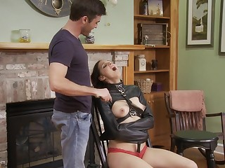 He makes his headed up slave blow him after spanking her