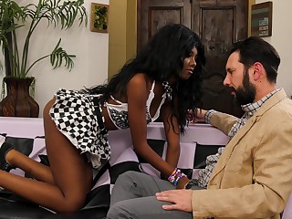 Gorgeous black babe in arms Daizy Cooper swallows cum from a white dick