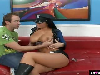 Bitch in sexy dominion uniform Jayden James goes wild on a changeless pole