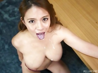 Prex Japanese MILF babe Oda Mako sprayed with cum all over her face