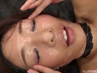 Hardcore gangbang be proper of a Japanese beauty ends around her face cum masked
