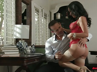 Chad Alva and his froends fuck one super sexy juggy whore in red lingerie