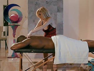 Peaches babe Chloe Foster massages a black tramp before he pounds her