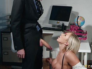 Blonde MILF whore Lilli Vanilli drains a giving hard dick and boloney dry