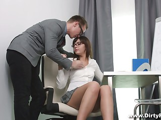 Shy nerdy pet in glasses Katty Blessed hooks up with her math instructor
