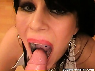 POV anal with an increment of blowjob session with skanky brunette bimbo