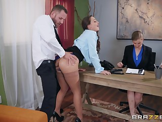 Abigail Mac pounding her new boss onwards office to get the labour