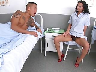 Long legged expand Janet Joy licks cum off of will not hear of slender feet