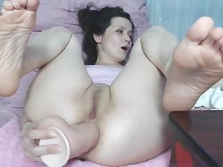 Fluffy Dark Hair Girl Very Nasty Butt Sex Gaping Live