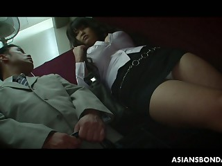 Big tittied chesty chick Airi Ai is fucked hard by several roasting guys