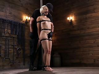 Moronic dude fucks affianced X-rated blonde Helena Locke in the dark basement