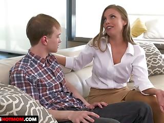 Fake tittied stepmom Britney Amber seduces her nerd and on edge stepson