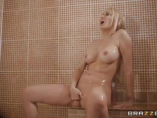Blonde Amber Jayne takes a shower before a fuck in fishnet stockings