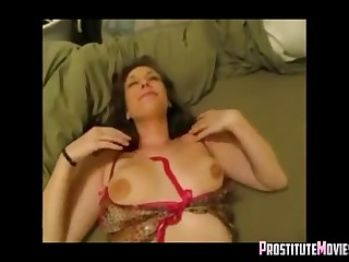 Oversexed girlfriend cums on his big flannel with facial