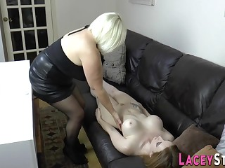Brit gran strapon copulated by big-titted lesbian - toys