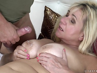 Granny Pam Pink's huge tits are imperceivable alongside hot sperm