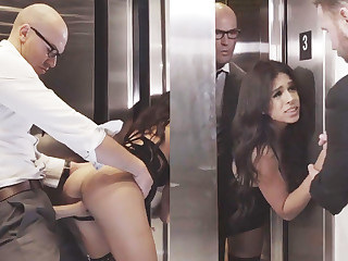 Shifty GF cheating with her big-dicked boss in an elevator