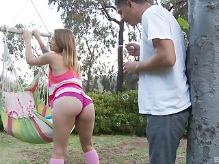 Blonde teen babe Alyssa Branch seduced their way join up into shacking up their way