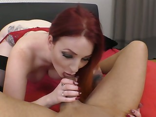 Curvaceous pale redhead Zara DuRose gives head befitting before topping dick
