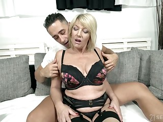 Dynamic natural busty cougar Rosemary is fucked by young hot blooded student