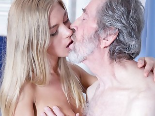 Paterfamilias Fucked Young Blonde Teen Blowjob Doggystyle coupled with Cums