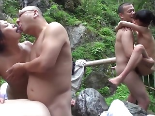Uncensored JAV cheating wives raw copulation orgy outdoor onsen