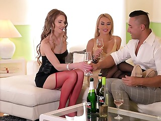 Tequila Girl licks cum off Melissa Benz's feet in stockings