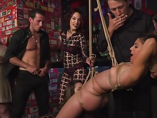Three hot babes fucked in crowd