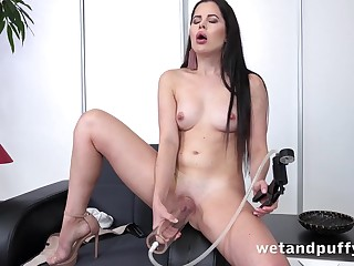 Cutie pumps up say no to pussy with reference to a toy