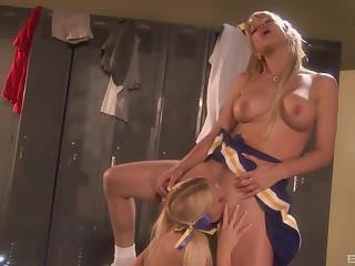 Angie Savage plus Kara Mynor enjoy tribadic sex with a dildo