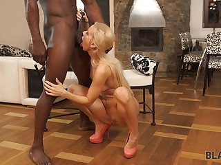 BLACK4K. Unassisted powerful Obese BLACK PENIS can make magnificent blond hair lady-haire