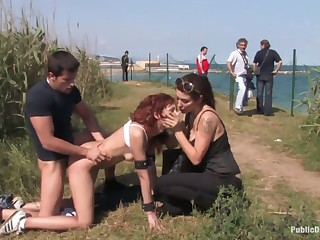 Two kinky perverts fuck red haired chick Justine in the car and outdoor
