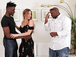 Two black and horny dudes are going to fuck Britney Amber badly