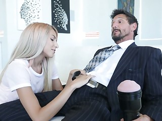 Naughty stepdaughter Hime Marie jerks absent daddy's dick with a far-out flesh facet