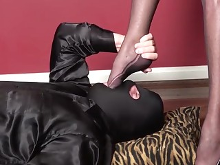 Pvc hyacinthine mini dress, high heels, nylons, blowjob, fuck