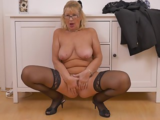 Blondie Granny Strips With an increment of Fingers Pussy - housewife