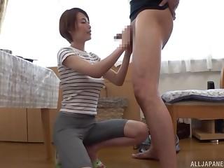 My hot Asian next-door neighbor Kimijima Mio makes me cum