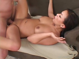 Asian honey gets her shaved cunt be full with Caucasian cock