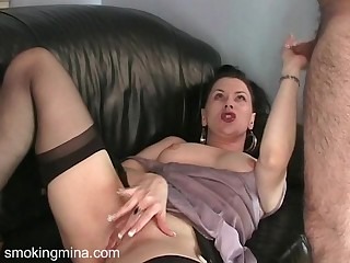 Ravishing brunette cougar masturbating with a anal toys after a long time arrogantly a blowjob