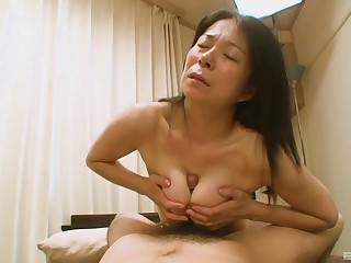 Prudish Japanese grandma Akiko Oda laying on say no to back having sex