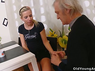 Naturally slim blonde floozie Nelya is seduced by fucked by older cadger