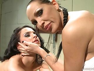 Skinny Dark Hair Babe Tortured By Her Dyke