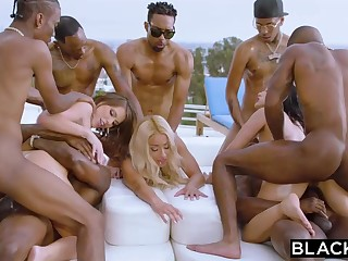 Teanna Trump, Adriana Chechik together with Vicki Pursue are orgying during a vacation, with dark-hued men