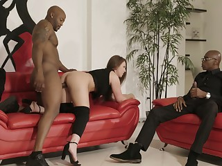 Two huge black dicks penetrate anus and pussy of bootyful white chick Maddy O'reilly